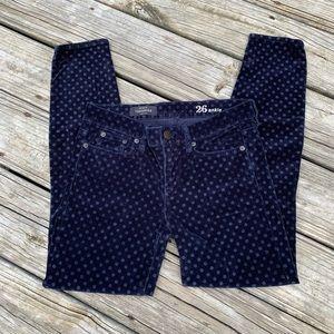 J. Crew toothpick velvet pants